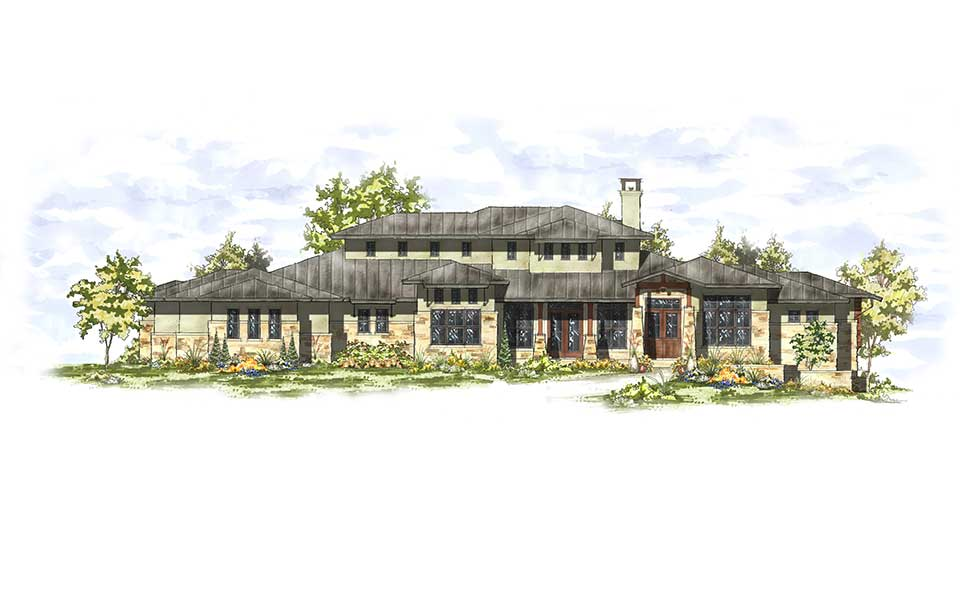 hill country contemporary austin custom home rendering arbogast