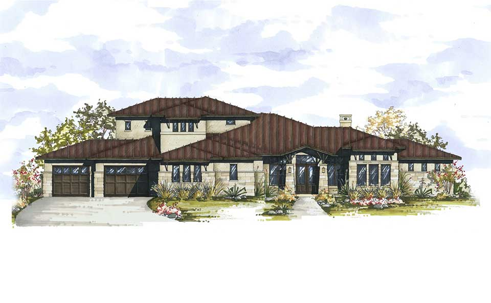 Hill Country Contemporary Austin Custom Home Rendering